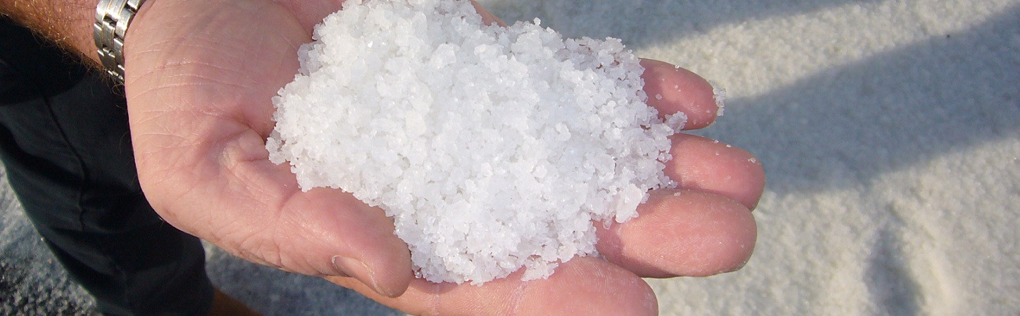 Pure white solar marine salt